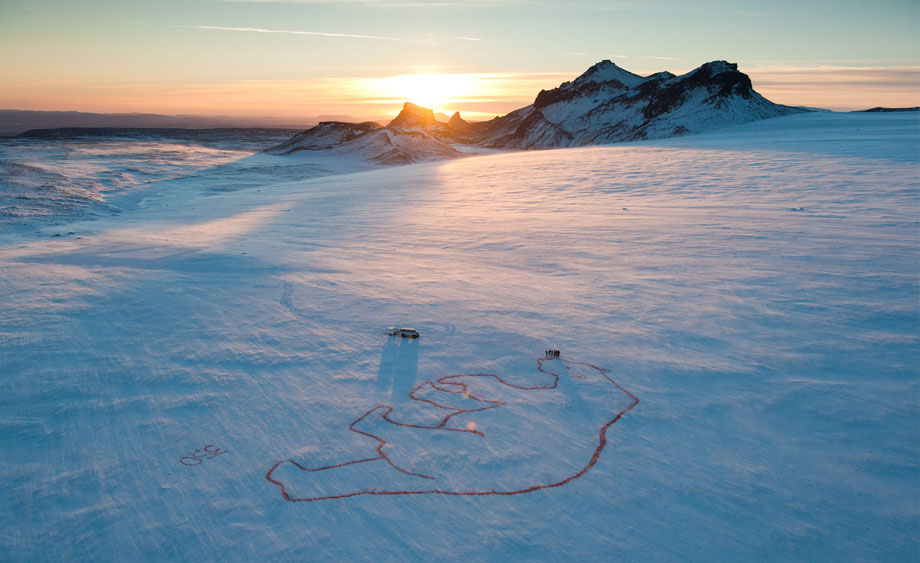 100-meter wide image of a polar bear drawn on the Langjökull glacier in Iceland. (biodegradeable food coloring was used)