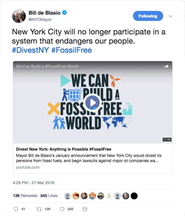 Screenshot of tweet from NYC Mayor Bill de Blasio.