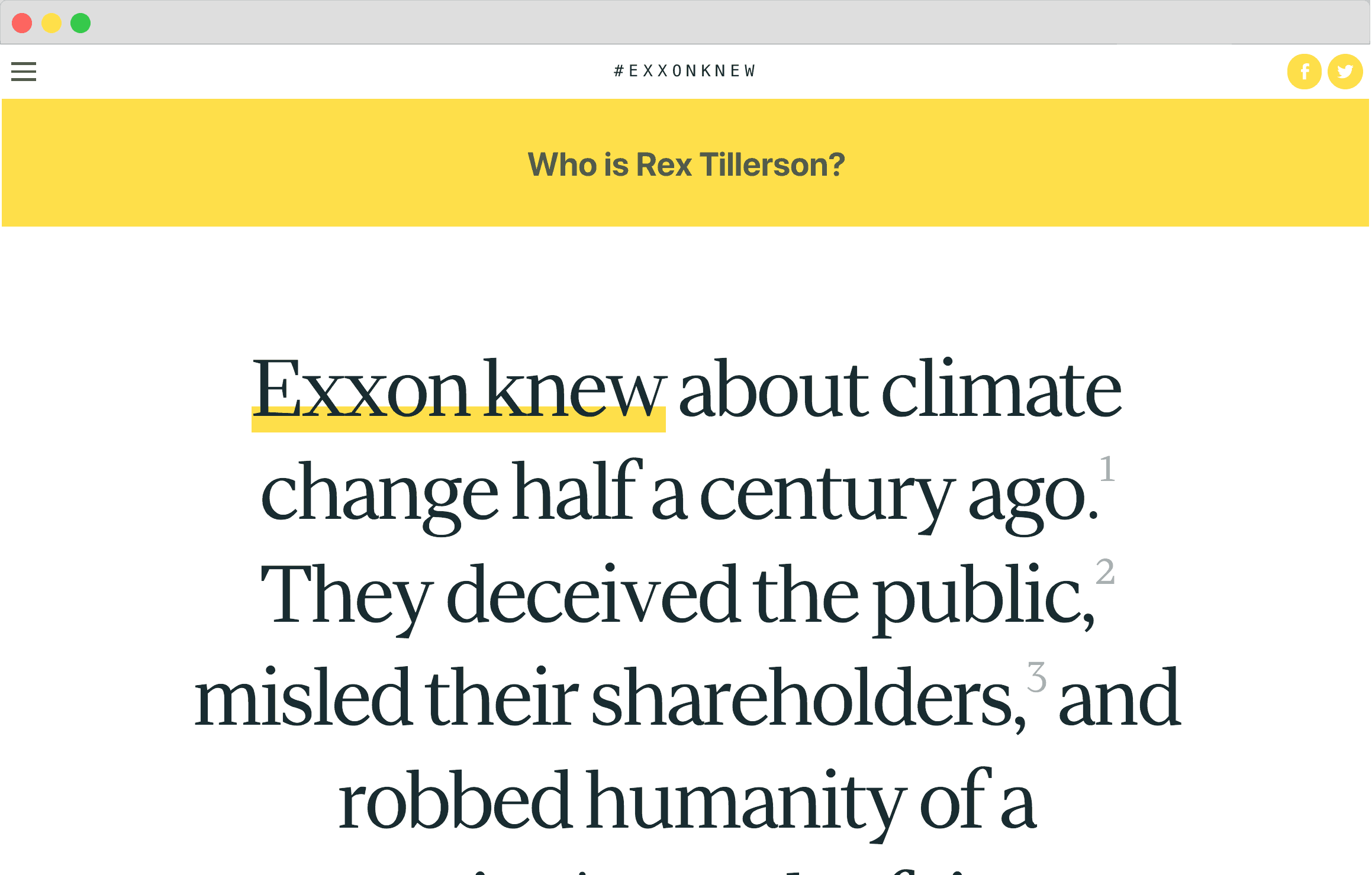 Screenshot of the exxonknew.org website homepage